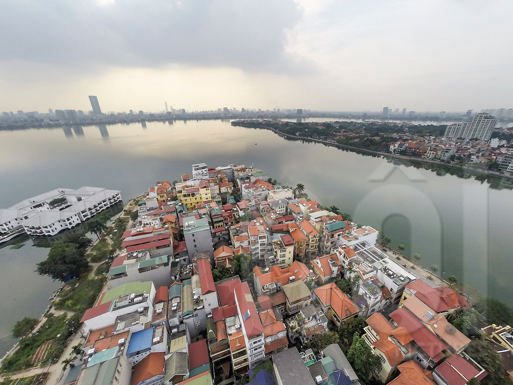 Aerial view of Tay Ho District in Hanoi, Vietnam, Southeast Asia