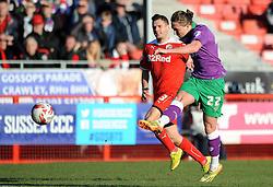 Bristol City's Luke Ayling takes a shot at goal. - Photo mandatory by-line: Dougie Allward/JMP - Mobile: 07966 386802 - 07/03/2015 - SPORT - Football - Crawley - Broadfield Stadium - Crawley Town v Bristol City - Sky Bet League One