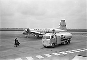 01/04/1963<br /> 04/01/1963<br /> 01 April 1963<br /> Refuelling of B.K.S. AVRO 748 prop-jet (G-ARMW) at Dublin Airport. Leyland Hippo fuel truck.