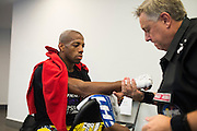 Patrick Williams has his hands wrapped before his fight against Alejandro Perez during UFC 188 at the Mexico City Arena in Mexico City, Mexico on June 13, 2015. (Cooper Neill)