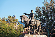 Monument to General Ignacio Zaragoza in front of the Palacio de Cristal or City Hall in the Macroplaza Grand Plaza adjacent to the Barrio Antiguo neighborhood of Monterrey, Nuevo Leon, Mexico.