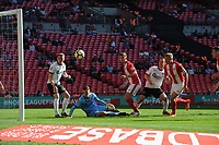 Football - 2018 Buildbase Trophy Final - Brackley Town vs. Bromley<br /> <br /> So close. Brackley's shot rebounds off the post, at Wembley Stadium.<br /> <br /> COLORSPORT/ANDREW COWIE