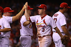 July 28, 2017 - St. Louis, MO, USA - The St. Louis Cardinals' Jedd Gyorko (3-0) celebrates a 1-0 win with his teammates against the Arizona Diamondbacks at Busch Stadium in St. Louis on Friday, July, 26, 2017. Gyorko drove in Tommy Pham with the game's only run. (Credit Image: © Christian Gooden/TNS via ZUMA Wire)