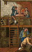 'The Brewer:  The mash tun, top, in which malted barley is boiled in water. When cooled, liquor, wort, will be drawn off.    Hand-coloured woodcut from ''The Book of English Trades'', London, 1823.'