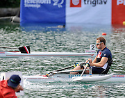 Bled, SLOVENIA,   Adaptive Rowing, ASM1X, Andy HOUGHTON, moves  away from the start, in his semi final on the second day, FISA World Cup , Bled held on Lake Bled.  Saturday  29/05/2010  [Mandatory Credit Peter Spurrier/ Intersport Images] Cop last event as international level. .  Adaptive, Rowing. Para Rowing,