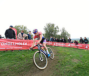 Belgium, November 1 2017:  Eventual winner, Mathieu van der Poel (Beobank-Cornedon), rounds a corner during the 2017 edition of the Koppenbergcross elite men's race. The race is part of the DVV Verzekeringen Trofee race series.  Copyright 2017 Peter Horrell.
