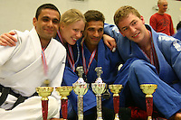 "Afghan Judokas visiting Norway....Afghanske judokas besøker Norge....Shafiq Eqrar (from left),  Birgit Ryningen, Farhad Hazrati and Lars Kyllingstad won gold in ""Åpent Trøndersk Mesterskap"" in Levanger, Norway, 2004"