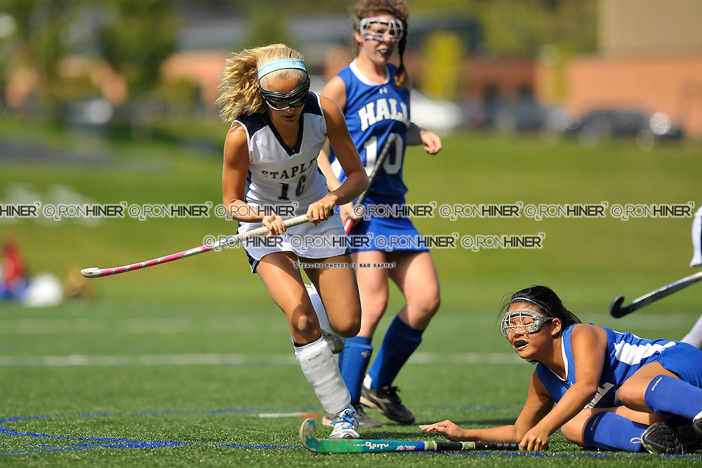 Staples High School Field Hockey..Westport defeats Hall 2-1 in final seconds of the game..Megan O'Shea