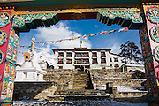 Entrance gate to Tengboche Monastery, Khumbu (Everest) region, Sagarmatha National Park, Himalaya Mountains, Nepal.