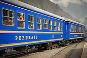Train passing through Ollanta Station to Machu Picchu, Sacred Valley of the Inca, Cusco Region, Peru, South America