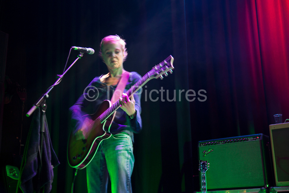 Throwing Muses performing live at the Islington Assembly Hall, London, UK. Throwing Muses are an alternative rock band founded in 1980. The group was originally fronted by two lead singers, Kristin Hersh, and Tanya Donelly. Known for performing music with shifting tempos, creative chord progressions, unorthodox song structures, and surreal lyrics, the group was set apart from other contemporary acts by Hersh's stark, writing style, David Narcizo's unusual drumming techniques almost totally without cymbals and Bernard Georges' driving baselines.