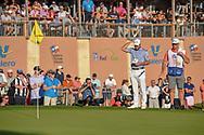 Corey Conners (CAN) looks over his birdie attempt on 18 during day 4 of the Valero Texas Open, at the TPC San Antonio Oaks Course, San Antonio, Texas, USA. 4/7/2019.<br /> Picture: Golffile | Ken Murray<br /> <br /> <br /> All photo usage must carry mandatory copyright credit (© Golffile | Ken Murray)