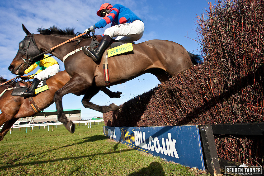3:15pm Newcastle - Eider Chase...(Blue/Red) Companero, ridden by Peter Buchanan..Owner: Expors of the late Mr W.M.G. Black..Trainer: Howard Johnson, Crook...(Yellow/Green) Giles Cross, ridden by Denis O'Regan..Owner: K.C.M.S Partnership..Trainer: Victor Dartnall, Barnstaple.