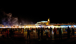 Night time crowds in the Jemaa el Fna, Marrakech, Morocco, North Africa<br /> <br /> (c) Andrew Wilson | Edinburgh Elite media