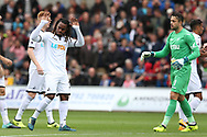Renato Sanches of Swansea city acknowledges the home fans before the match. Premier league match, Swansea city v Newcastle Utd at the Liberty Stadium in Swansea, South Wales on Sunday 10th September 2017.<br /> pic by  Andrew Orchard, Andrew Orchard sports photography.