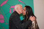 MICHAEL CRAIG-MARTIN; NADJA ROMAIN, Artists for Women for Women International, A PRIVATE VIEW AND LAUNCH RECEPTION OF LEADING CONTEMPORARY ARTISTS WHO HAVE DONATED WORKS TO BE AUCTIONED AT CHRISTIE'S POST-WAR AND CONTEMPORARY SALE TO BENEFIT WOMEN FOR WOMEN INTERNATIONAL. Gagosian Gallery. Britannia St. London. 27 September 2011. <br /> <br />  , -DO NOT ARCHIVE-© Copyright Photograph by Dafydd Jones. 248 Clapham Rd. London SW9 0PZ. Tel 0207 820 0771. www.dafjones.com.