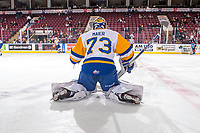 KELOWNA, BC - DECEMBER 01:  Nolan Maier #73 of the Saskatoon Blades warms up on the ice against the Kelowna Rockets at Prospera Place on December 1, 2018 in Kelowna, Canada. (Photo by Marissa Baecker/Getty Images)