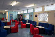 The visitors centre inside HMP Coldingley. Surrey, United Kingdom. HMP Coldingley is a category C training prison, focussed on the resettlement of prisoners. All inmates must work a full working week, within the prison grounds.