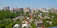 Landscape view onto the Pechersk district in Kyiv, Ukraine. Shooting point was located on the territory of Second World War. Landscape shows upper park of Pechersk, with Dryzhby Narodov avenue (Nations Friendship) and Tsarske Selo residential area.