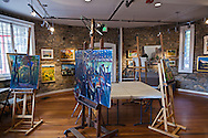 Paintings fill the ground floor of the stone tower at Glen Echo Park, Maryland. WATERMARKS WILL NOT APPEAR ON PRINTS OR LICENSED IMAGES.