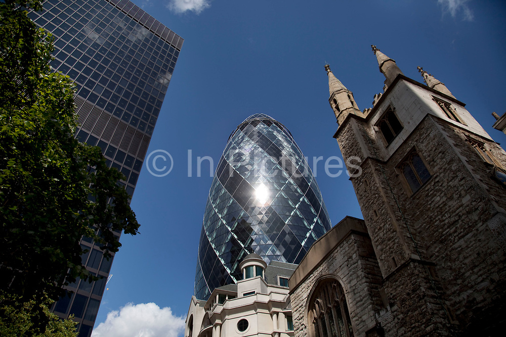 1 St Mary Axe, also knowns as The Gherkin in the City of London. This iconic building is one of the best loved buildings in London with it's distinctive bullet like shape and twisted glass exterior.