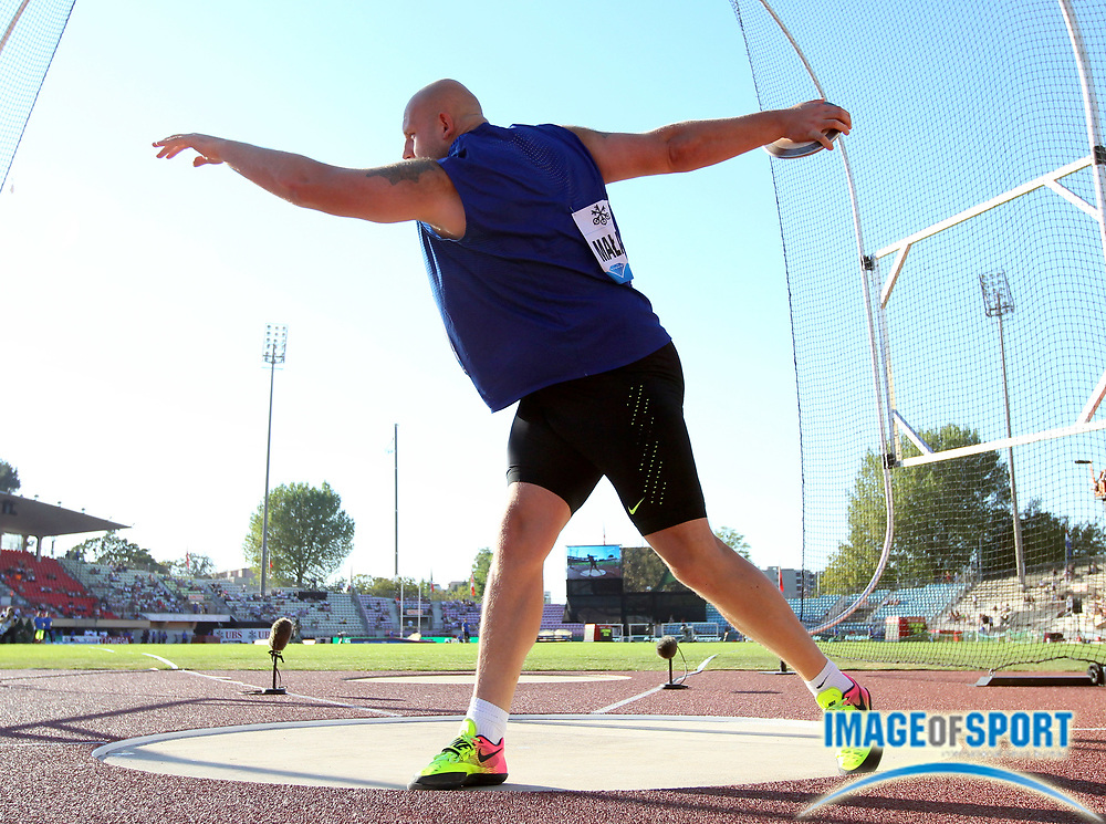 Aug 25, 2016; Lausanne, Switzerland; Piotr Malachowski (POL) places sixth in the discus at 204-11 (62.46m) during the 2016 Athletissima in an IAAF Diamond League meeting at Stade Olympique de la Pontaise. Photo by Jiro Mochizuki