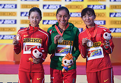 TAICANG, May 5, 2018  Mexico's Gonzalez Maria Guadalupe (C), China's Yang Jiayu(L) and Qie Yangshijie pose on the podium during the awarding ceremony for the women's 20km competition at the IAAF World Race Walking Team Championships Taicang 2018 in Taicang, east China's Jiangsu Province, May 5, 2018. (Credit Image: © Ji Chunpeng/Xinhua via ZUMA Wire)