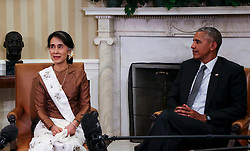 US President Barack Obama holds a bilateral meeting with State Counsellor Aung San Suu Kyi of Myanmar in the Ovale Office of the White House September 14, 2016, Washington, DC, USA. Photo by Aude Guerrucci/Pool/ABACAPRESS.COM