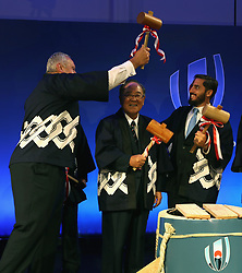 Bill Beaumont, ( L) chairman of World Rugby jokingly pretends to hit World Rugby vice chairman Agustin Pichot (R) with a wooden hammer, watched by Fujito Mitarai, chairman of JR2019 during the traditional opening of the sake barrel during the pre Rugby World Cup Japan 2019 reception held at the Hyatt Regency hotel on the eve of the Rugby World Cup Japan 2019 Pool Draw, on May 9, 2017 in Kyoto, Japan. The Rugby World Cup Japan 2019 takes place on May 10, in Kyoto, Japan. Photo by Dave Rogers - World Rugby/PARSPIX/ABACAPRESS.COM