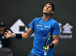 October 6, 2017 - Rafael Nadal of Spain reacts during the men's singles quarter-final match against J. Isner of the United States of America at the China Open tennis tournament. Rafael Nadal won 2-0 and advanced to the semifinal. (Credit Image: © Zhang Chenlin/Xinhua via ZUMA Wire)
