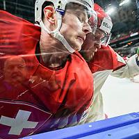 09.05.2018; Kopenhagen; EISHOCKEY WM2018 - Switzerland - Belarus;<br /> Joel Vermin (SUI) Vladimir Denisov (BLR) <br /> (Andy Mueller/freshfocus)