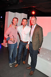 Left to right, GLYN WILLIAMS, STEPHEN NOBLE and NICK LANGWORTHY at a party hosted by the Hello! magazine advertising department to celebrate 25 years of Hello! Magazine held at the London Film Museum, Covent Garden,London on 9th May 2013.