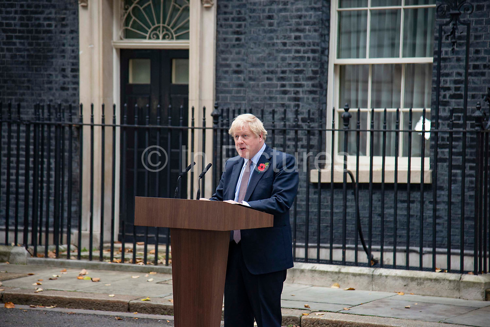 Prime Minister Boris Johnson makes a statement announcing the start of the Conservative and Unionist partys general election campaign in 10 Downing Street in London, United Kingdom on 6th November, 2019. This follows his meeting with the Queen to request the dissolution of Parliament, British voters go to the polls on December 12, 2019.
