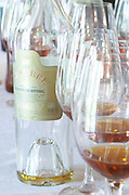 Wine tasting. Wine glasses. Moscatel de Setubal, 20 years of age. JM Jose Maria da Fonseca, Azeitao, Setubal, Portugal