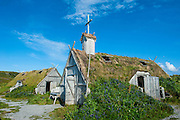 Traditional viking buildings in the Norstead Viking Village and Port of Trade reconstruction of a Viking Age settlement, Newfoundland, Canada