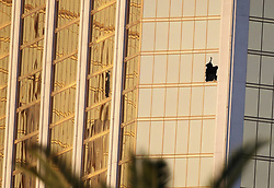 Oct. 3, 2017 - Las Vegas, Nevada, U.S. - shows the broken windows of Mandalay Bay Hotel in Las Vegas, the United States. At least 59 people were killed and 527 others wounded after a gunman opened fire Sunday on a concert in Las Vegas in the U.S. state of Nevada, the deadliest mass shooting in modern U.S. history. (Credit Image: © Wang Ying/Xinhua via ZUMA Wire)