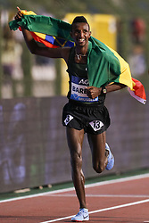 BRUSSELS, Sept. 1, 2018  Selemon Barega of Ethiopia celebrates after the men's 5,000m race at the IAAF Diamond League athletics meeting in Brussels, Belgium, Aug. 31, 2018. Selemon Barega claimed the title in a time of 12 minutes and 43.02 seconds. (Credit Image: © Zheng Huansong/Xinhua via ZUMA Wire)