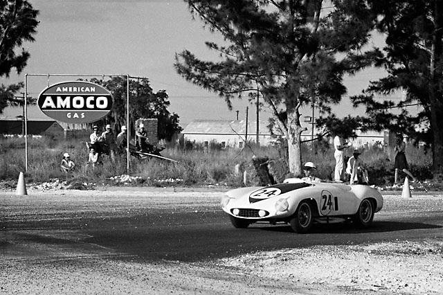 Ferrari Monza no. 24 at the 1955 Sebring 12 hr. race; please credit photo to Ozzie Lyons / www.petelyons.com