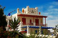 House decorated with traditional folk art. Mykonos, Cyclades Islands, Greece.