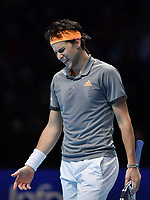 Tennis - 2019 Nitto ATP Finals at The O2 - Day Five<br /> <br /> Singles Group Bjorn Borg: Dominic Thiem (Austria) vs. Matteo Berrettini (Italy)<br /> <br /> Dominic Thiem frustrated during his 2 set defeat to Matteo Berrettini, 7-6, 6-3<br /> <br /> COLORSPORT/ASHLEY WESTERN