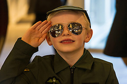 Pictured: Ritchie Brand (6) from Athelstaneford Primary School gets in the mood<br /> <br /> The redeveloped National Museum of Flight at East Fortune has undergone a  £3.6 million refurbishment and now has aeroplanes including a Spitfire, a Harrier Jump Jet and a Tornado T-3 on display.    (c) Ger Harley, EEm 22 March 2016