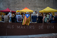 A man sits wrapped in a Catalan flag waiting the begining of the ceremony. During the parade, held the day before the Catalan national day, Catalan separatist protests asking freedom for politicians arrested after the unilateral referendum held almost a year ago. Barcellona, Spain, September 10, 2018. Federico Scoppa