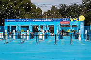 The closed entrance of the Australian Open on the first day with no public being admitted. A snap lockdown has forced the Australian Open to be played with no crowds due to the entire state is returning to harsh stage-four lockdowns until Wednesday at 11.59pm as health authorities struggle to contain the Holiday Inn coronavirus outbreak.