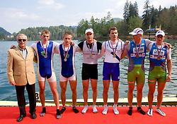 Janez Bencina, Second placed Gasper Mocnik and Andraz Borstnar Vasle of VK Ljubljanica, winners Rok Kolander and Miha Pirih of Bled-DEM and third placed Jure Grace and Gregor Domanjko of VK Dravske elektrarne Maribor  at 51st Prvomajska Regatta Bled 2010, on April 25, 2010, at Lake Bled, Bled, Slovenia. (Photo by Vid Ponikvar / Sportida)