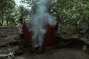 Roger, a Shipibo-Konibo man with respiratory problems and Covid-19 symptoms is being vaporized. Vaporizations are a very old tradition from the Shipibo-Konibo nation. According to their cosmology, the smoke from their specific selection of plants heals respiratory problems. In response of the lack of medicinal care access, the indigenous people found refuge in their plant based medicines.