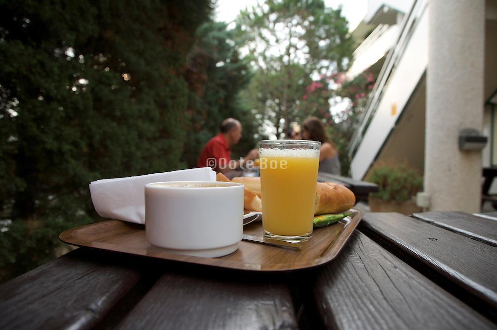outdoors breakfast table at a roadside motel