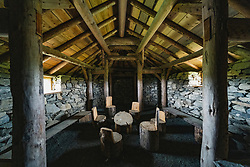 Interior of reconstructed viking longhouse at Haroldswick, Unst, Shetland, Scotland, UK