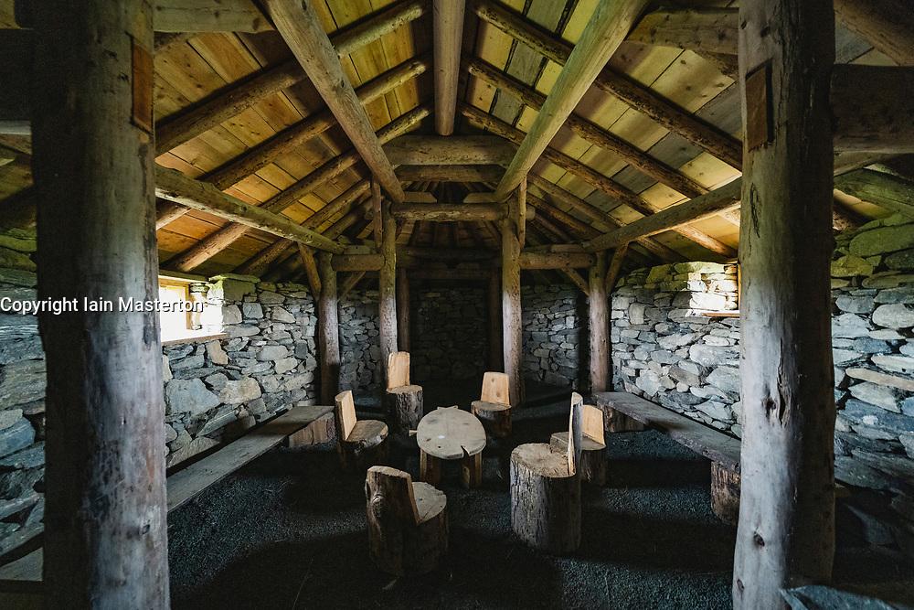 Interior of reconstructed viking longhouse at Haroldswick, Unst, Shetland, Scotland, UK