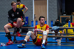 Frits van Gestel of Dynamo, Wessel Blom of Dynamo disappointed after the cup final between Amysoft Lycurgus vs. Draisma Dynamo on April 18, 2021 in sports hall Alfa College in Groningen