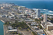 Aerial view of San Juan City looking toward the old city San Juan, Puerto Rico.